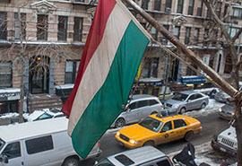 Magyar zászló New Yorkban.
