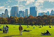 USA, New York, New York City, Central Park with skyline in background